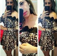 Vestidos Women Leopard Printed & Black Lace Patchwork Long Sleeve Dress Slash Neck Off Shoulder Sexy Evening Party Dresses