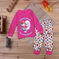 2014 kids cartoon Frozen clothing set/Elsa & Anna printed children pajamas/Girls favorite cotton pajamas set