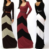 2014 new fashion summer spring women's long boho dress fashion sexy rules geometric bump color stripe mop floor dresses d020
