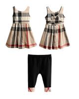 2014 free shipping Summer baby girls Clothing set plaid dress+leggings sleeveless O-neck bowknot yes conjunto de roupa
