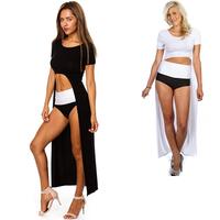 2014 New Sexy Long Dresses Womens Celebrity Maxi Casual Shirt Dress Ladies Black White Party Dress Swim Beach Wear M XL 3XL