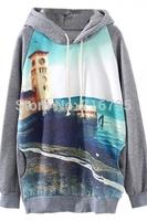 2014 Women Raglan Sleeves Seashore Pattern Hoodie Grey Print Sweatershirt  Free Shipping