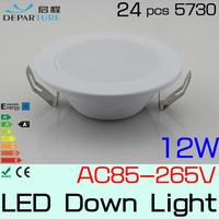 Hot sales SMD5730 levou light  12w White Led Downlight 110v/120v/220v White/Warmwhite FreeShipping