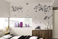 LargeTree Branches Birds Flower Art Wall Stickers Decal DIY Home Decoration Wall Mural Removable Bedroom Sticker 115x50cm