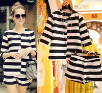 Free shipping 2014 autumn new fashion women elegant clothing set,women long sleeves blouse and shorts,2 styles for options