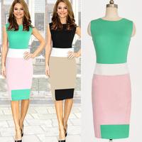 Drop Shipping 2014 New Summer Color Contrast Sleeveless knee-length Bodycon O-neck Elegant Vintage Brand Women Pencil Dresses
