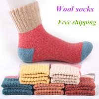 Free Shipping 2014 Winter socks cashmere women's wool socks thermal thicken winter socks towel hemming warm socks 20 Pcs=10pairs