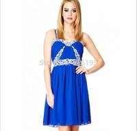 Free Shipping Uncommon 2014 Fashion Chiffon Summer Blue Strap Dress