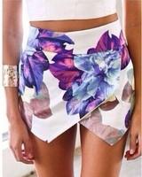 Fashion Women Brand Print Shorts Irregular Print Flower False Two Pieces Short Skirts Women Shorts High Quality 110346