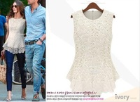2014 Fashion Sexy Purity Color Frill Women Spring Summer Chiffon Lace Top with Lining Back Zipper Sleeveless Tank Shirts YXJ004
