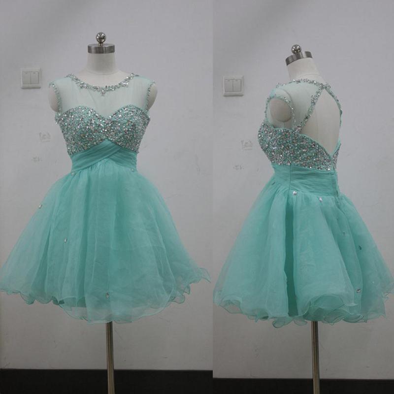 Verde cristalino del amor corto de graduaciu00f3n vestidos 2014 envu00edo ...