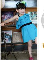 party dress 2014 New korean baby Girls dress Ruffle cotton Princess Dress Summer child dress kids clothes B003 Free Shipping