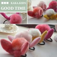 Free Shipping Children Fur Ball Bunny Rabbit Ear Hair Band Hair Holder For Children