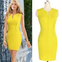 2014 New Summer Solid Yellow Sleeveless Mini Party Dresses Bodycon V-neck Elegant Vintage Brand Women Pencil Dresses DN1343