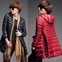 2014 New Winter Jacket Women, Woman Outwear Hooded Down Jacket, Warm Long Down Coat