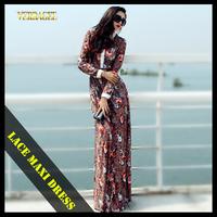 2014 spring lace maxi dresses women long sleeve vestidos summer plus size floor-length slim flower print vintage casual dress