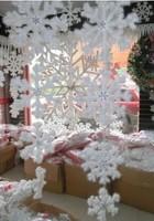 2 sets Christmas Party Decorations Supplies White Snow dimensional Snowflakes Hanging Ornaments 3pcs/1 set =16cm/23cm/30cm