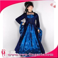 Free Shipping blue long sleeve empress ball dress Of Fashion Evening Gown ,wonder woman costume party fashion dress  m4846