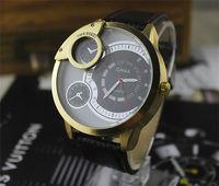 Brand New Fashion Men Big Dial Military Casual Sports Quartz  Analog Display Men Leather Wristwatch Watch