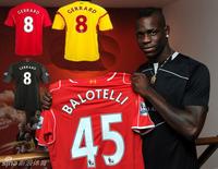 nwe Balotelli  Liverpool Jersey 14 15 Liverpool 14/15 Soccer Jersey Liverpool SUAREZ GERRARD COUTINHO Home Away Football Shirt