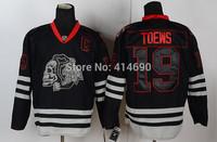 Free Shipping Cheap Chicago Blackhawks #19 Jonathan Toews Authentic Black Skull Hockey Jersey Wholesale Mix Order