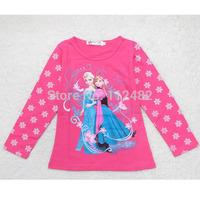 princess Autumn winter baby long sleeve t shirt cartoon FROZEN snowman printing T-shirts kids wear