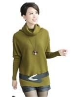 Large Size Women Sweater ,Plus Fertilizer loose Long Sleeve Turtleneck Fashion Bottoming Sweater + Belt L,XL,XXL,XXXL,XXXXL