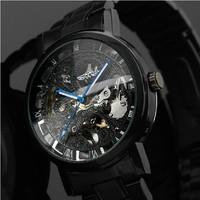 Winner Steampunk Clock Black Steel Automatic Mechanical Watch For Men Roman Dial Wrist watch Free Shipping 2983