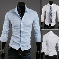 Fashion business Men's casual long-sleeved shirt Korean version 2 colors shirt