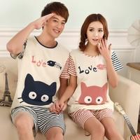 2014 summer cartoon 100% cotton lovers sleepwear short-sleeve shorts male women's lounge summer 100% cotton sleepwear