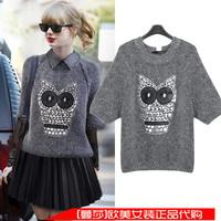 2014 autumn women's owl pattern paillette o-neck long-sleeve sweater knitted outerwear