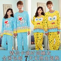 Spring and autumn male modal long-sleeve lovers pants sleepwear women's 100% casual cotton cartoon lounge set