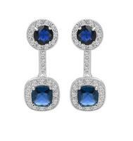 blue cubic zirconia earrings for women vintage earring romantic earring for women statement accessories silver earrings M612
