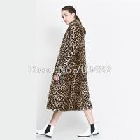 2014 Winter Female Leopard Print Keep Warm Long Coat Loose Overcoat Leopard Fur Coat Double Sidekicks Female Long Coat,XS-XXL