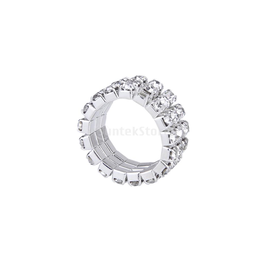 New 2014 Brand New Elastic Silver Tone 3 Row Crystal Rhinestone Toe Ring Bridal Jewelry 9mm