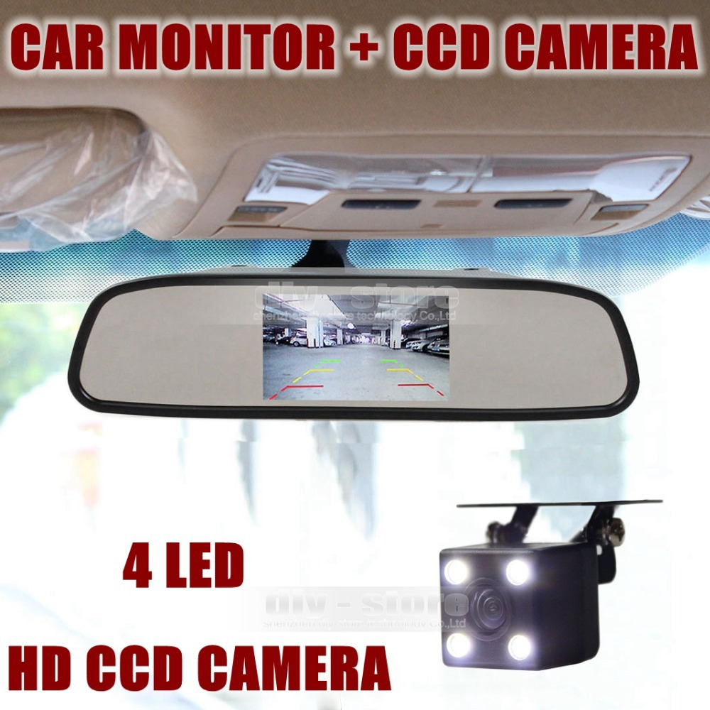 Auto HD Parking Monitors System LED Night Vision CCD Rear View Camera With 4.3 inch Car Rearview Mirror Monitor(China (Mainland))