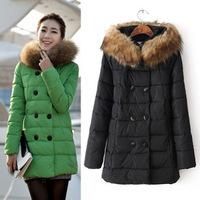 Women cotton cotton-padded jacket slim medium-long women plus size wadded jacket lady winter racoon fur collar down jacket