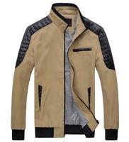 2014 autumn men's stand collar slim leisure sport lether decoration jacket YC172