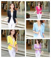 5Colors The small suit female Korean candy color three quarter sleeve Blazer suit  Female suit Blazer Jacket Femal Suit