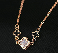 2014 direct selling Brand new Rose Gold Plated zircon clover chokers pendant necklace fashion