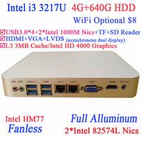 Thin Client Mini PC with Intel I3 3217U Dual Intel 82574L Nics TF SD Card Reader HDMI VGA PXE WOL support 4G RAM 640G HDD