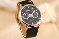 Brown Black Man Mens Women Leather Strap Casual Black Dial Analog Quartz Gifts Wrist Watches