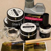 Nail Art UV Gel with Acrylic Powders Liquid Dappen Dish Topcoat for Manicure tools Kit Set FreeShipping