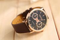 Fashion Men Watch Sports Quartz Movement Luxury Analog Display Round Dial Brown Black Color Men Wristwatch Military Watch