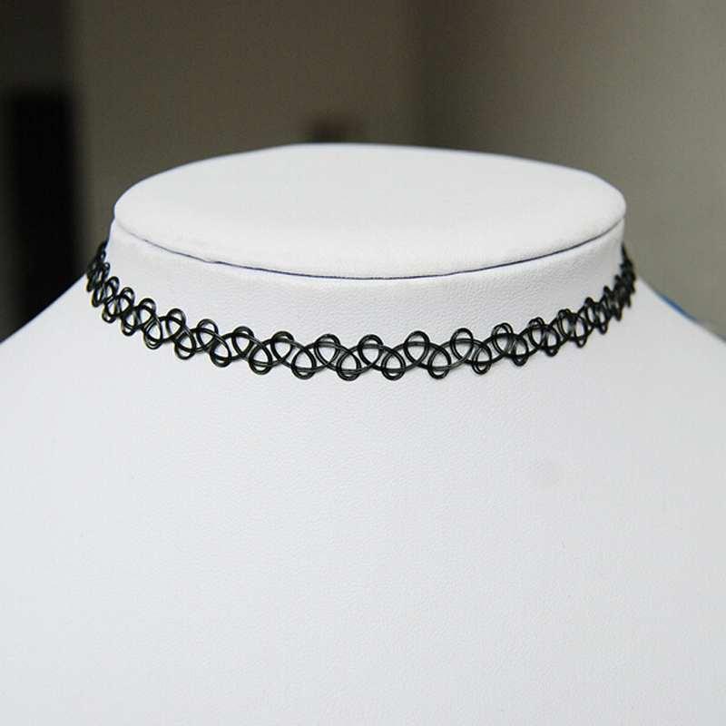 Free Shipping Trendy Women Girl Punk Jewelry Vintage Stretch Tattoo Choker Necklace Retro Gothic Elastic