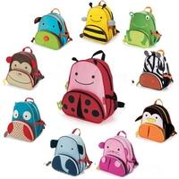 Free Shipping Cute Cartoon Animal School Bag Children Zoo Backpacks Canvas Boys Girls Baby Kindergarten Kids Backpack Shoulder