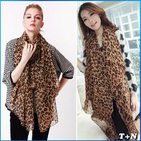 new Fashion Brand silk scarf women neckerchief Leopard Chiffon scarf