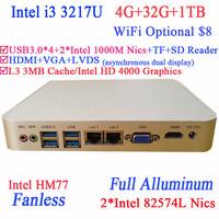 thin client mini pc with Intel I3 3217U Dual Intel 82574L Nics TF SD Card Reader HDMI VGA PXE WOL with 4G RAM 32G SSD 1TB HDD