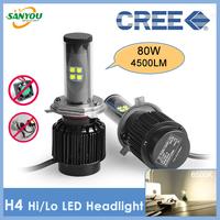 2014 New 1 Set 80W 4500LM H4 H/L CREE XT-E LED Headlight 5000K 6000K 8000K Three colors H7 H11 9005 9006