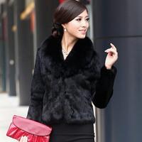 2014 women's fight faux fox fur short design fur coat leather overcoat